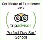 Tripadvisor certificate of excellence 2016 Perfect Day Surf School